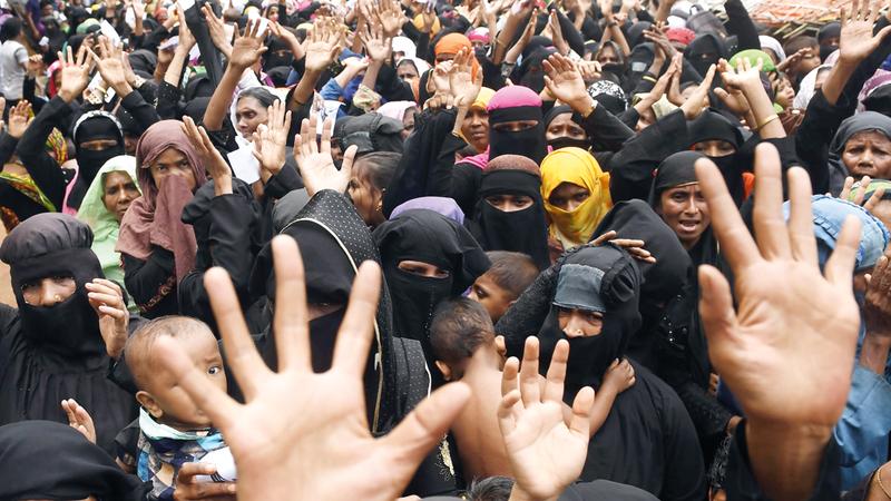 جانب من تظاهرات الروهينغا في بنغلاديش. أ.ف.ب