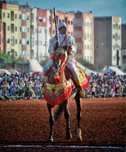أنور صوّر معرضاً تقليدياً من معارض الفروسية في المغرب.  من المصدر