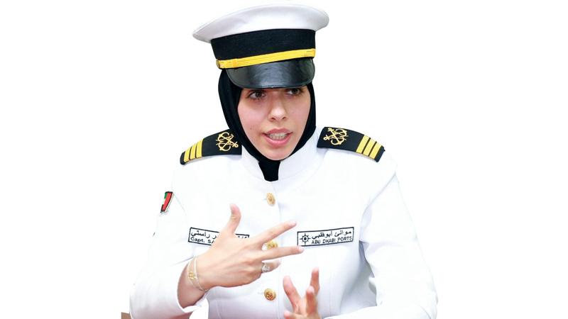 القبطان الإماراتية نجحت في تخطّي صعاب ومتاعب المهنة الشاقة. الإمارات اليوم