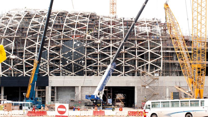 جانب من المنشآت قيد الإنشاء ذات الصلة بمونديال 2022. أرشيفية