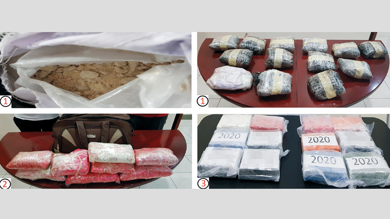جانب من المخدرات المضبوطة في العمليات الثلاث. من المصدر