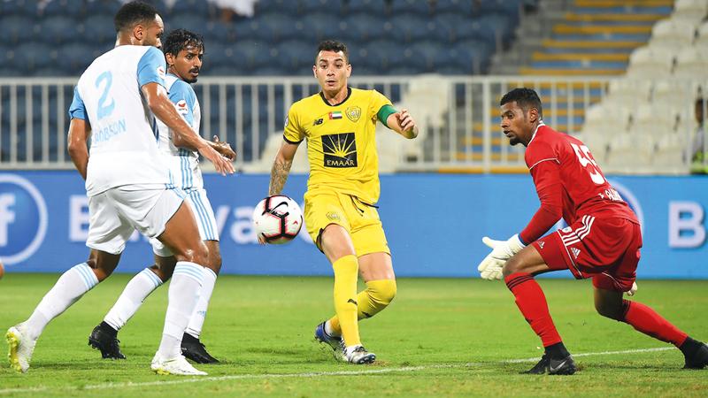 الوصل تعادل مع بني ياس 1-1 في الجولة الثانية من الدوري. تصوير: إريك أرازاس