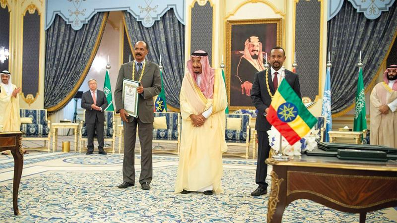 العاهل السعودي مع رئيس إريتريا و رئيس وزراء إثيوبيا وولي العهد السعودي وعبدالله بن زايد و غوتيريس .واس
