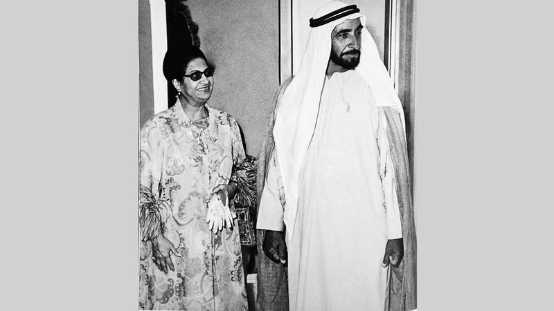 الشيخ زايد كان يثمّن الدور القومي والتاريخي والحضاري لمصر وطن الفنانة أم كلثوم.  أرشيفية