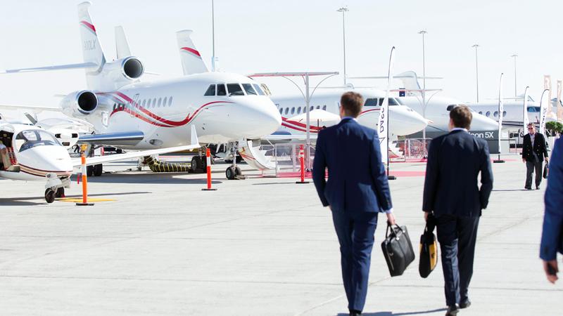 المعرض سيشهد عرض نحو 50 طائرة لرجال الأعمال وكبار الشخصيات. تصوير: أحمد عرديتي