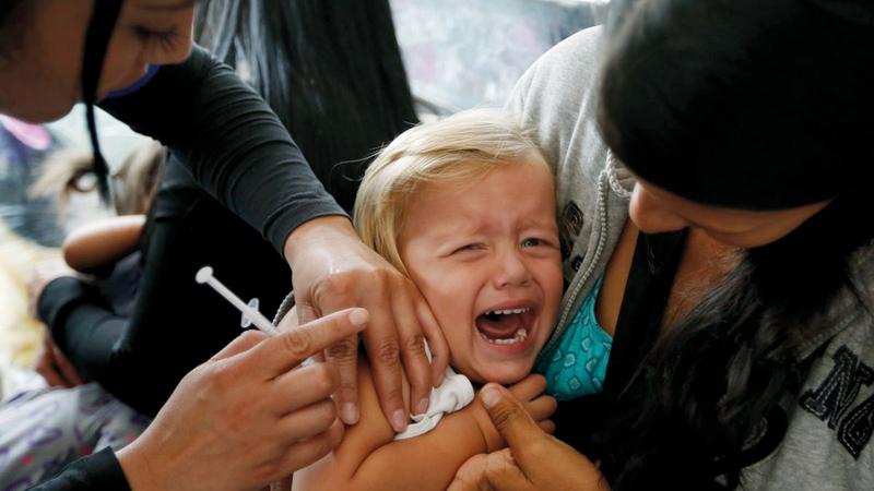 بعض الأمراض مثل الحصبة عادت الى الولايات المتحدة لأن بعض الاباء لم يلقحوا أطفالهم ضدها. أرشيفية