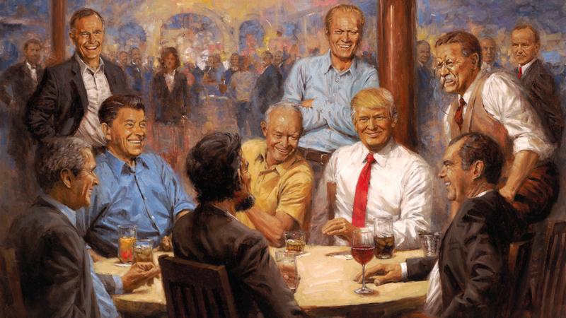 لوحة زيتية لبعض الرؤساء الأميركيين. غيتي