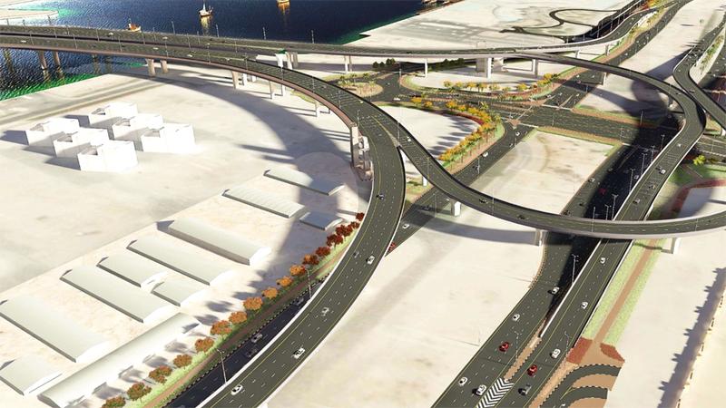 مخطط عام لمشروع جسور مدخل جزر ديرة. من المصدر
