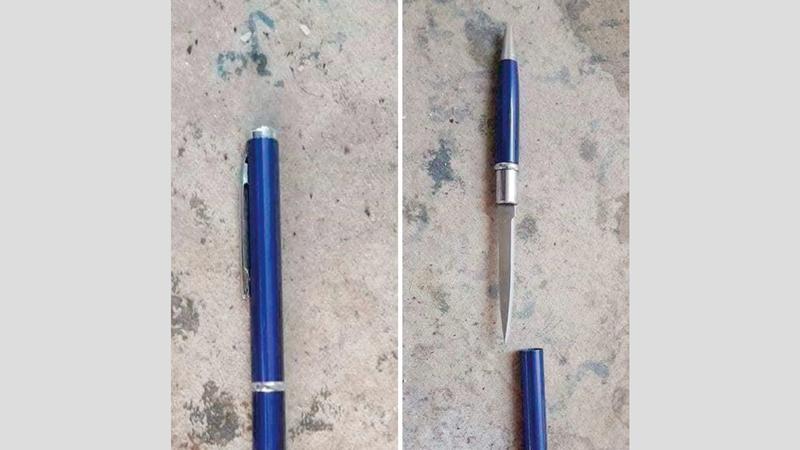 اقتصادية دبي عرضت صور «القلم السكين» على التجار لتوضيح خطورته. من المصدر