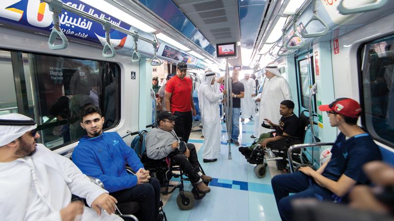 رحلة أصحاب الهمم بدأت من محطة مترو الراشدية. تصوير: أحمد عرديتي