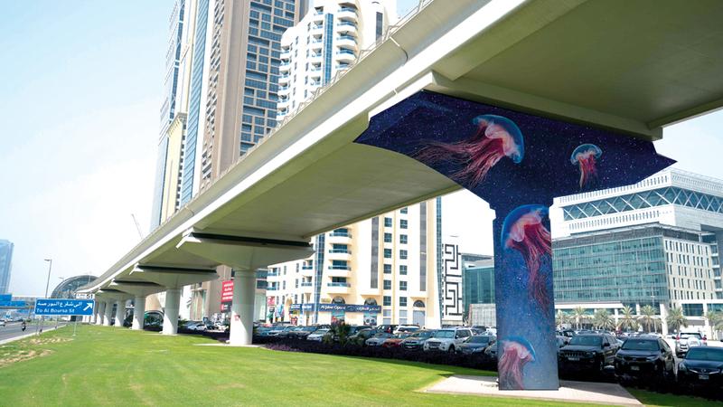 الأعمال الفنية ستمتد بين محطتي أبراج الإمارات ومركز دبي المالي العالمي.  من المصدر