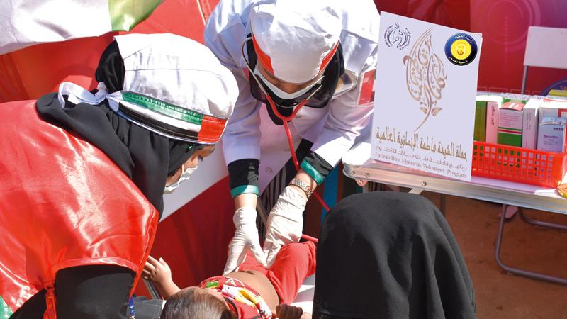 حملة الشيخة فاطمة العالمية استطاعت أن تصل برسالتها الإنسانية إلى آلاف اللاجئين. من المصدر