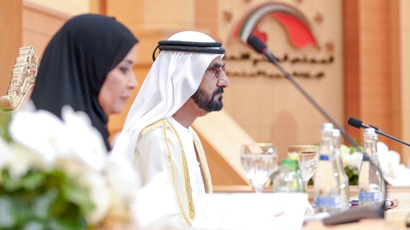 محمد بن راشد خلال افتتاحه جلسة المجلس الوطني الاتحادي في العاصمة أبوظبي. وام