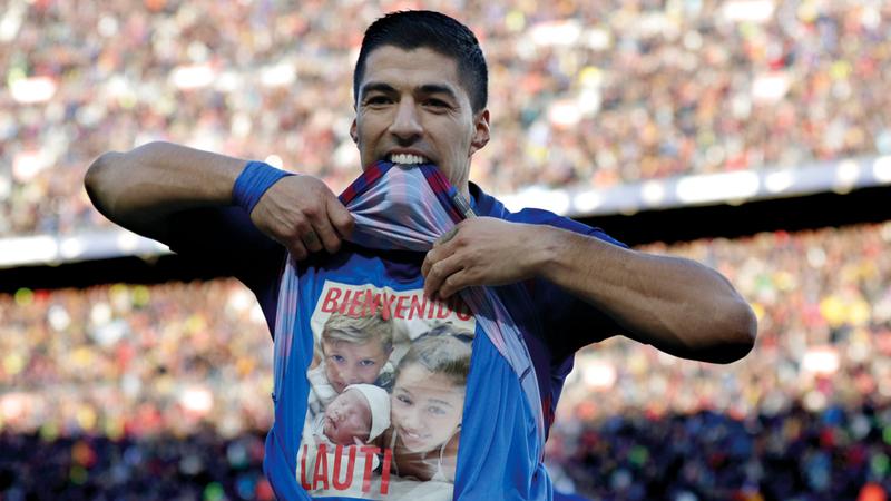 النجم الأوروغوياني سواريز افترس شباك ريال مدريد. أ.ب