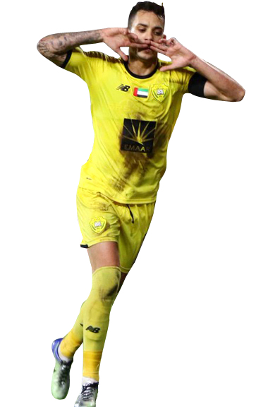 كايو يحتفل بتسجيله هدفاً للوصل في شباك الأهلي المصري.