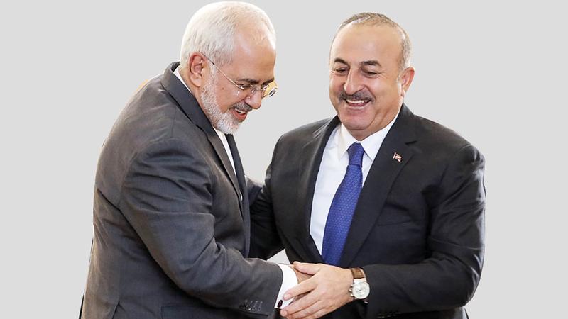 ظريف «يسار» وأوغلو.. محاولات إيرانية لاستجلاء الموقف.  ارشيفية