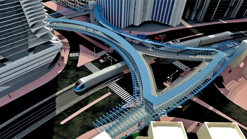 تصميم جسر المشاة في منطقة المارينا. من المصدر