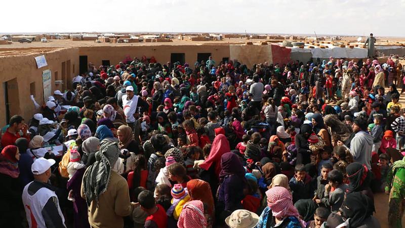 سكان المخيم بحاجة ماسة إلى المساعدة.  أ.ف.ب