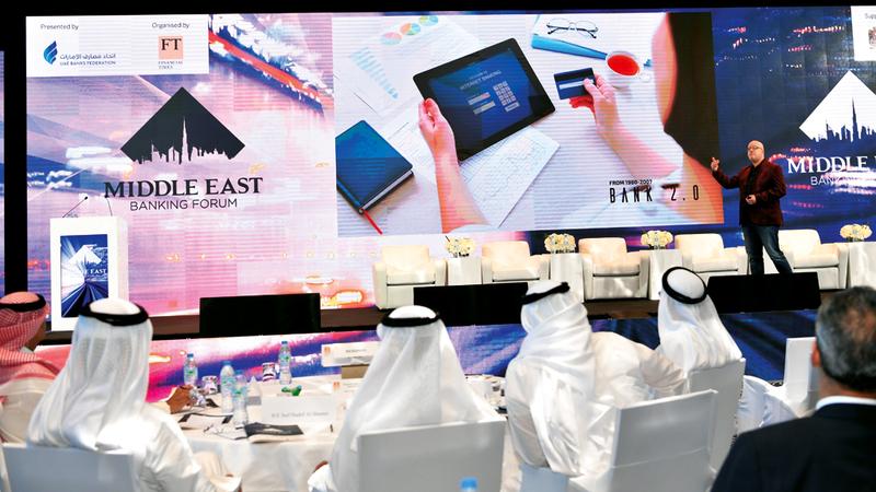 «الملتقى المصرفي في الشرق الأوسط» أقيم في دبي أمس.  تصوير: مصطفى قاسمي
