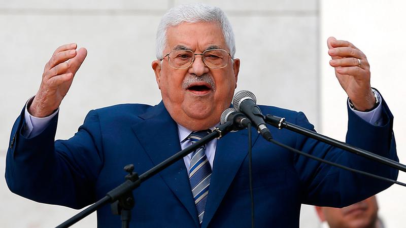 عباس خلال كلمته في رام الله أمس. أ.ف.ب