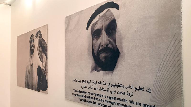 يتفرّد معرض «فن أبوظبي» هذا العام باحتفائه بـ«عام زايد»، ما أثرى أجنحة المعرض بالعديد من المشارَكات والأعمال الفنية التي استلهمت سيرة وقِيم المغفور له.  تصوير: إريك أرازاس