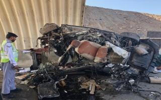 الصورة: وفاة مواطن بحادث تصادم على طريق رأس الخيمة الدائري نتيجة السرعة الزائدة