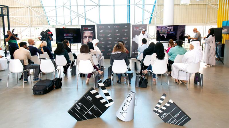 خلال المؤتمر الصحافي الذي عقد أمس في مدينة دبي للإنتاج.  تصوير: أحمد عرديتي