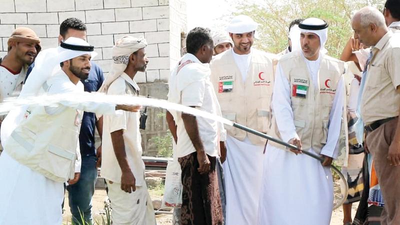 مشروع توفير المياه النظيفة من قبل الهيئة يأتي ضمن مبادرة «سقيا الإمارات». وام