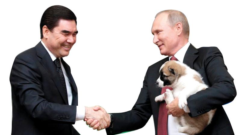 الرئيس التركمانستاني نجح في استخدام دبلوماسية الكلاب مع بوتين.  غيتي