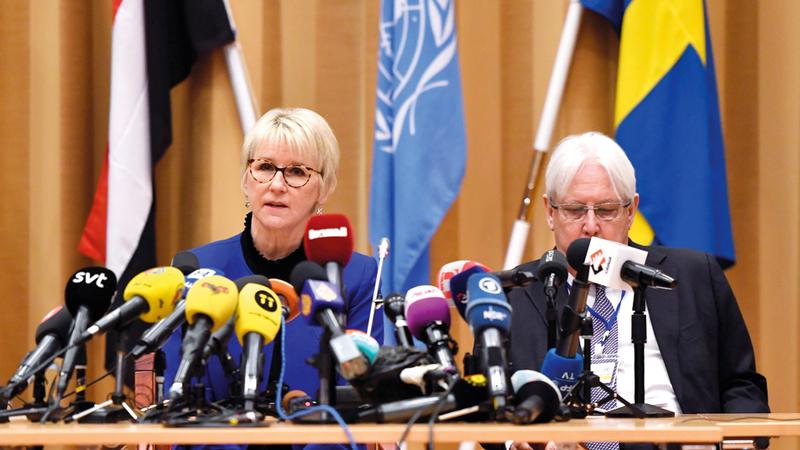 غريفيث وفالستروم أعربا عن الأمل في أن يتم التوصل إلى حل للأزمة اليمنية. إي.بي.إيه