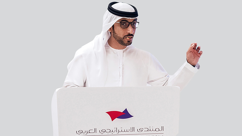محمد الحمادي يتحدث خلال الجلسة التحضيرية لانعقاد المنتدى الاستراتيجي العربي. من المصدر