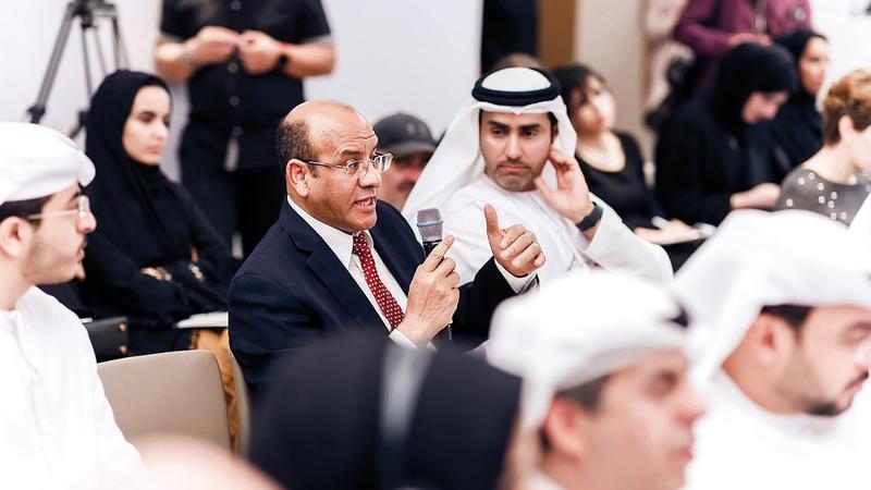 جانب من الحضور خلال الجلسة التحضيرية للمنتدى الاستراتيجي العربي. من المصدر
