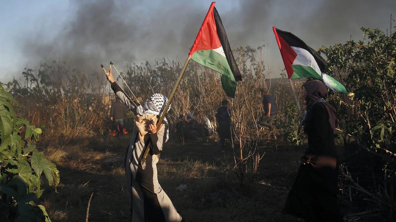 جانب من المواجهات مع قوات الاحتلال في غزة. أ.ف.ب
