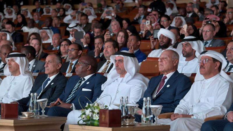 سيف بن زايد وأبوالغيط خلال المؤتمر. من المصدر