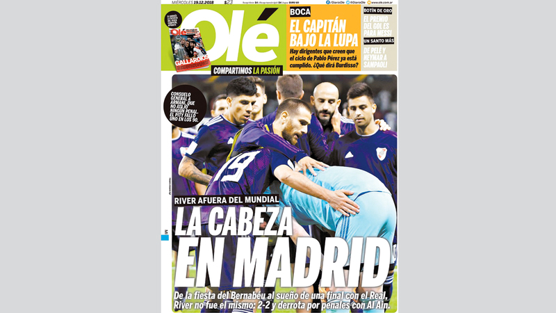 غلاف صحيفة «أوليه» الأرجنتينية يكشف خيبة ريفر بليت.