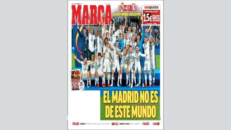 ماركا: «ريال مدريد ليس من هذا العالم». من المصدر