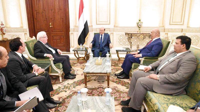 لقاء الرئيس اليمني والمبعوث الأممي أول من أمس. سبأنت