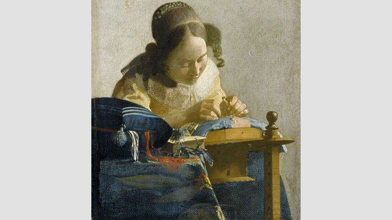 اللوحة الشهيرة «صانعة الدانتيل» التي يتوقع أنها رسمت «1669 - 1670». من المصدر