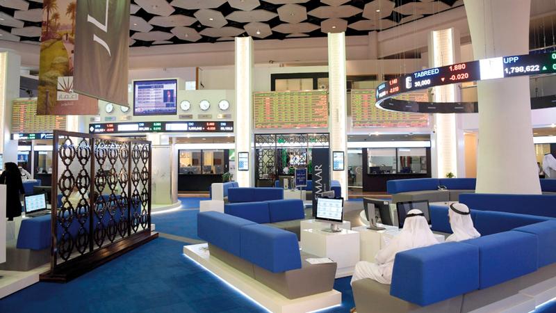 مؤشر سوق دبي المالي ارتفع أمس بنسبة 0.41%. أرشيفية