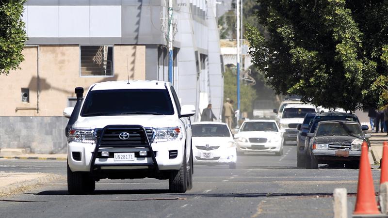 موكب غريفيث في صنعاء خلال ثالث زيارة يقوم بها في يناير لإلزام الحوثيين بتطبيق اتفاق السويد. أ.ف.ب