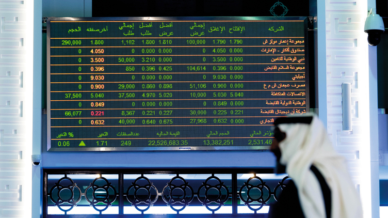 مؤشر سوق دبي المالي ارتفع أمس بنسبة 1.23%. تصوير: أحمد عرديتي