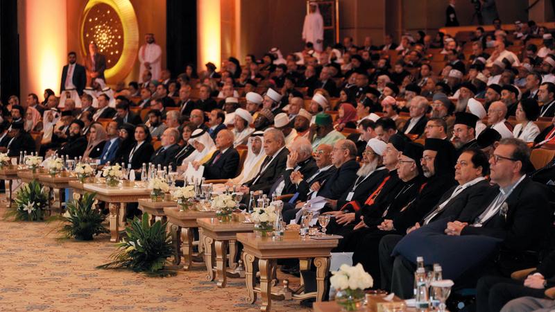 أجندة «مؤتمر الأخوة الإنسانية» تضمنت سلسلة من جلسات النقاش وورش العمل التي تجمع مختلف الأديان. من المصدر