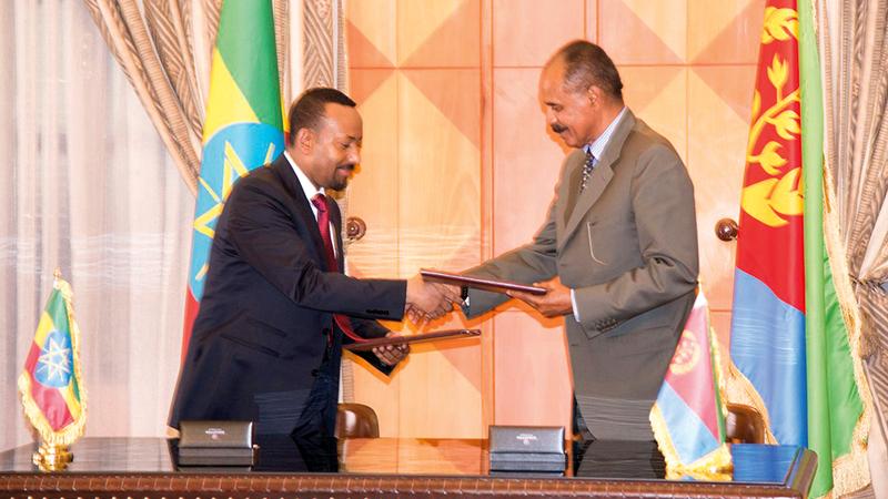 قام آبي أحمد بتوقيع اتفاق سلام مع إريتريا بعد سنوات من التوتر بينهما. أرشيفية