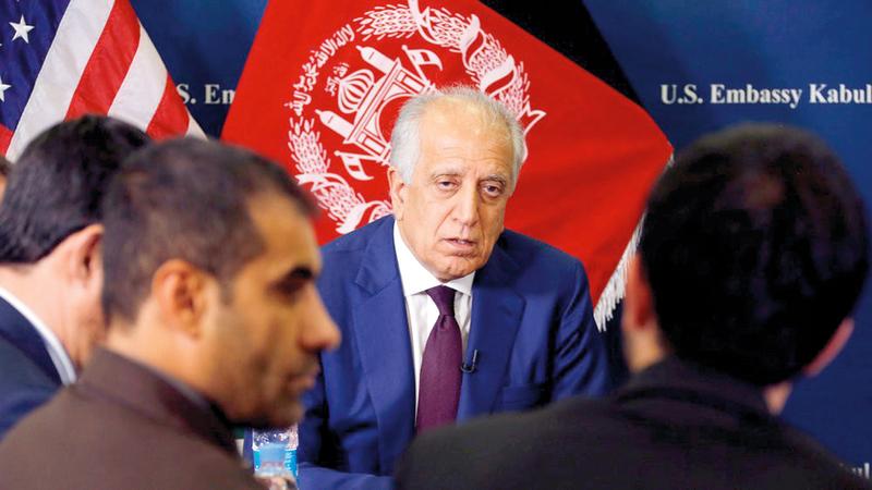زلماي خليل زاد يواصل الجهود من أجل التوصل لاتفاق يحفظ لأميركا مصالحها.  رويترز