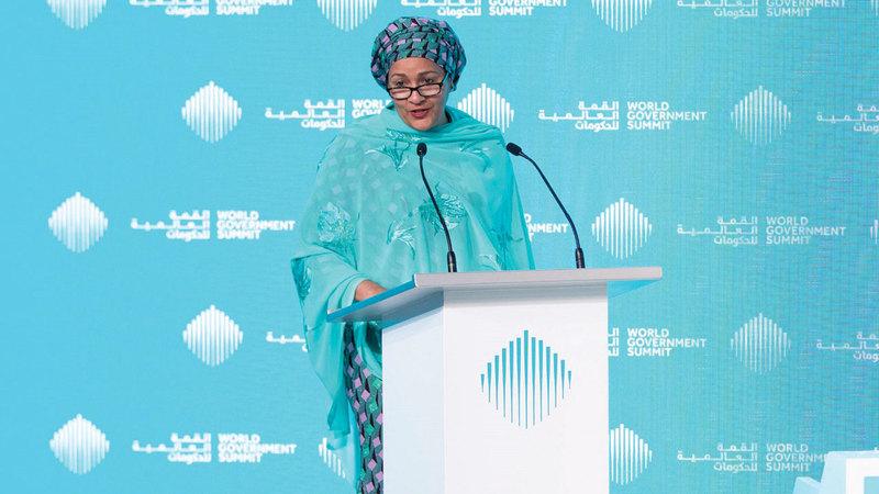 أمينة محمد خلال افتتاح منتدى أهداف التنمية المستدامة. من المصدر