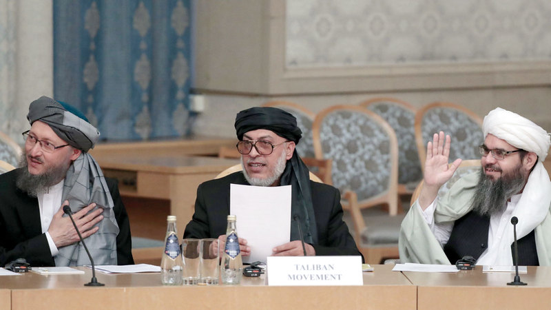 وفد «طالبان» المفاوض في موسكو. إي.بي.إيه