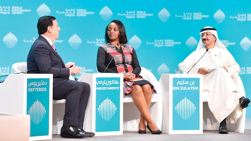 بن سليم خلال جلسة «بناء جسور للسلام من خلال التجارة العالمية». من المصدر