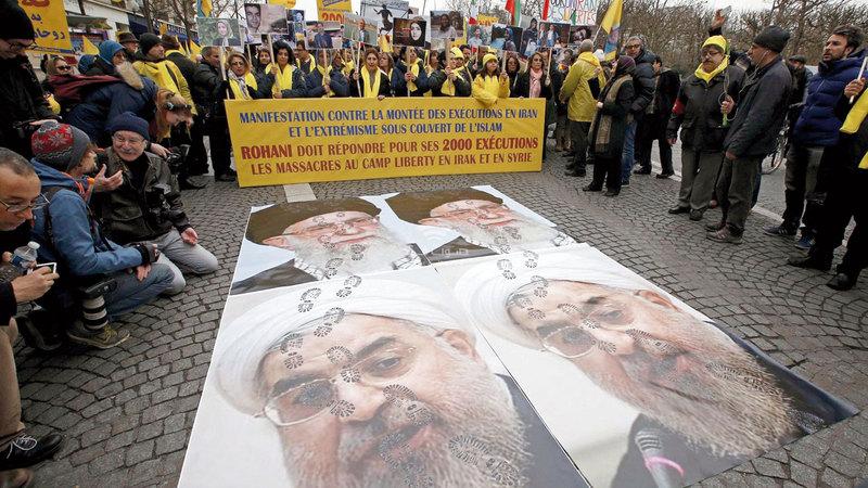 تظاهرة للمغتربين الإيرانيين  في الخارج ضد سياسات نظام الملالي. أرشيفية