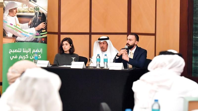 خلال المؤتمر الصحافي للإعلان عن الدفعة الأولى من الإماراتيين الذين انضموا إلى «كريم».  تصوير نجيب محمد
