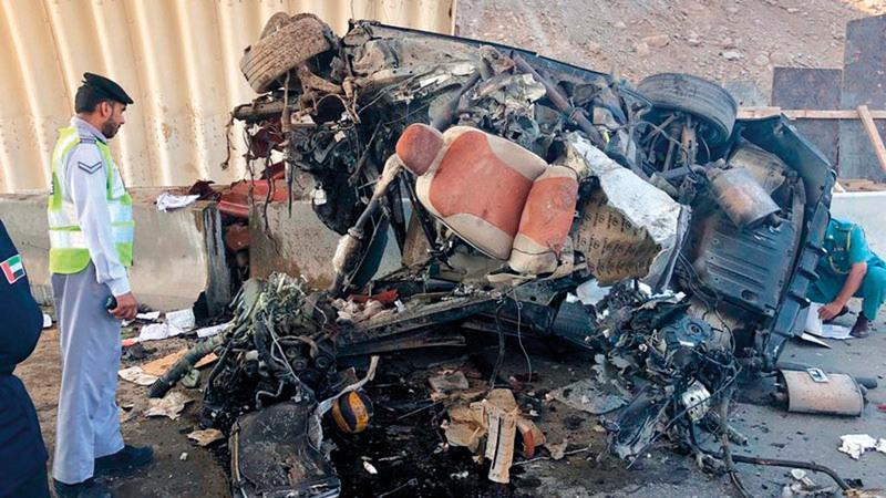 حادث أسفر عن وفاة مواطن نتيجة السرعة الزائدة. من المصدر